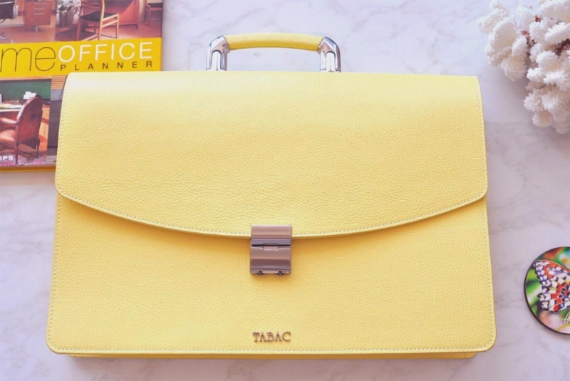 23222-LEATHER BRIEFCASE- YELLOW