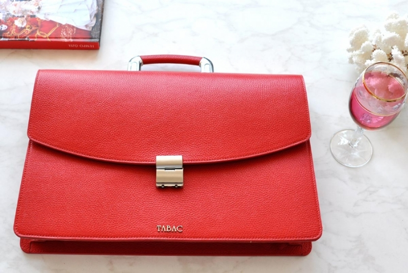 23224-LEATHER BRIEFCASE- RED