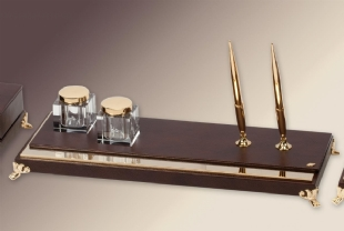 ELEGANCE Leather and Gold Deskset