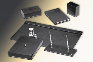 WHITE GOLD Leather Desk Set