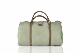LEATHER AND LINEN TRAVEL BAG