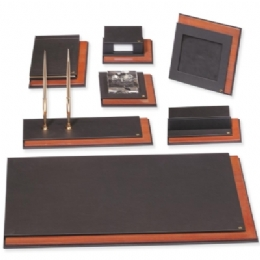 Leather And Wood Deskset