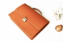 21813 LEATHER BRIEFCASE - CAMEL