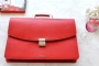 25204 LEATHER BRIEFCASE- RED