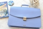 25209 LEATHER BRIEFCASE- PURPLISH BLUE