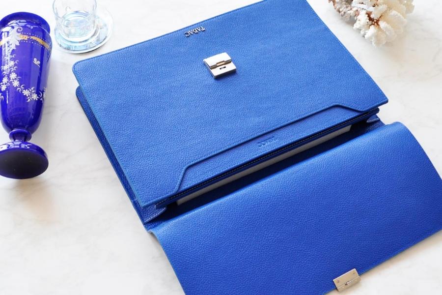 25171 - LEATHER BRIEFCASE- BLUE