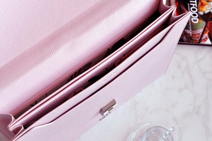 25105 LEATHER BRIEFCASE- PINK